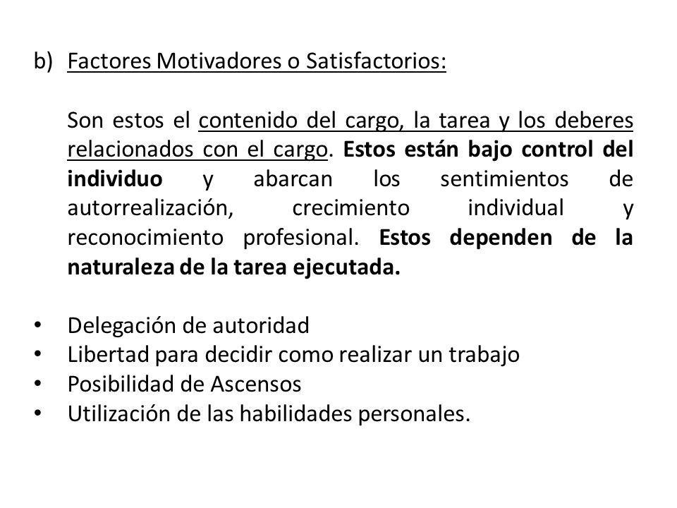 b)Factores Motivadores o Satisfactorios: Son estos el contenido del cargo, la tarea y los deberes relacionados con el cargo. Estos están bajo control