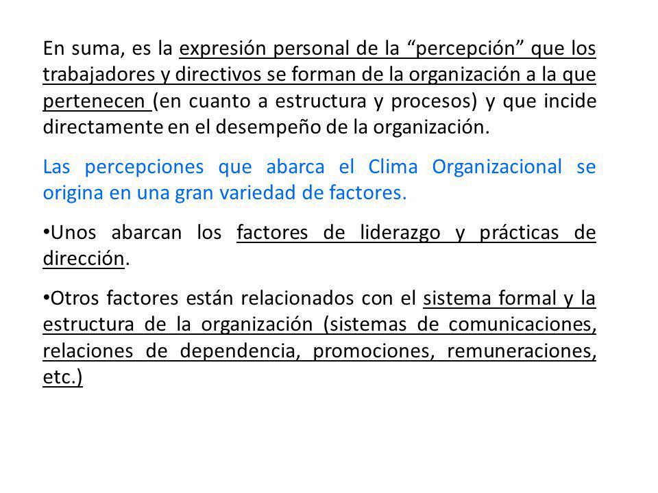 En suma, es la expresión personal de la percepción que los trabajadores y directivos se forman de la organización a la que pertenecen (en cuanto a est