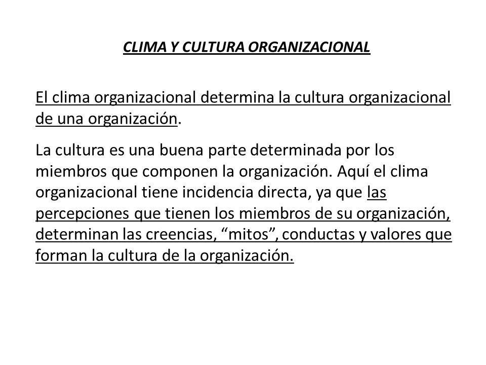 CLIMA Y CULTURA ORGANIZACIONAL El clima organizacional determina la cultura organizacional de una organización. La cultura es una buena parte determin