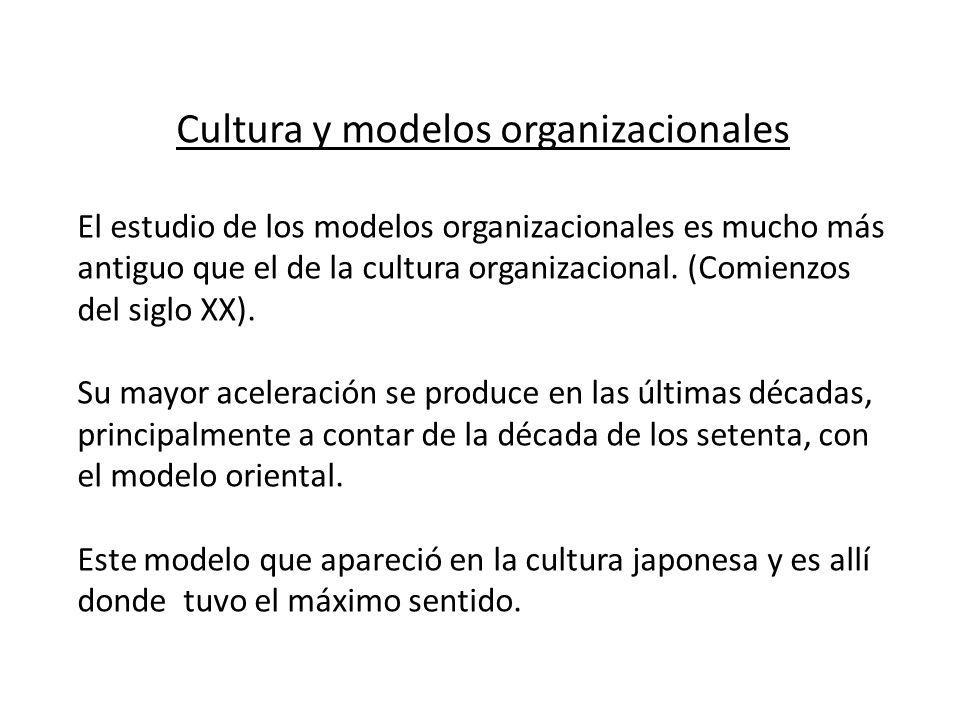 Cultura y modelos organizacionales El estudio de los modelos organizacionales es mucho más antiguo que el de la cultura organizacional. (Comienzos del