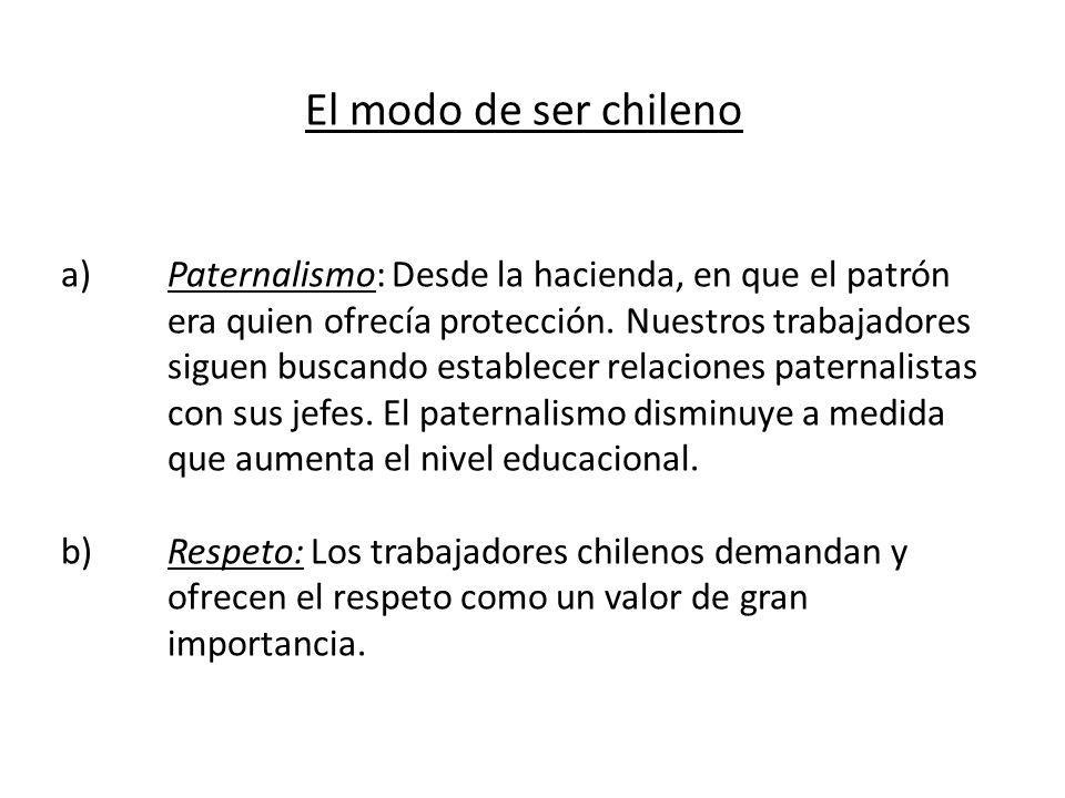 El modo de ser chileno a)Paternalismo: Desde la hacienda, en que el patrón era quien ofrecía protección. Nuestros trabajadores siguen buscando estable