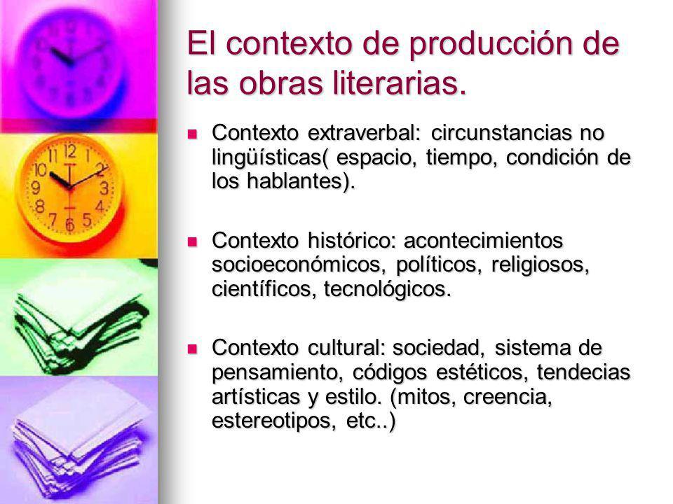 El contexto de producción de las obras literarias. Contexto extraverbal: circunstancias no lingüísticas( espacio, tiempo, condición de los hablantes).