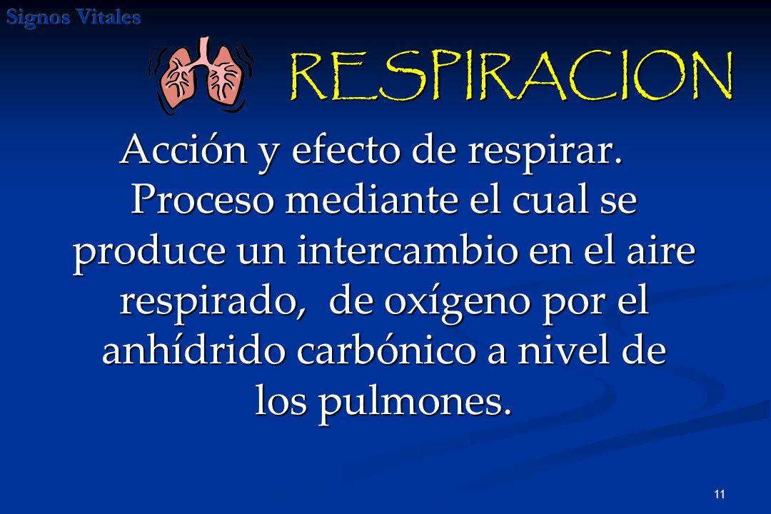 12 Ventilación pulmonar : consiste en la entrada y salida de aire de los pulmones, se realiza merced a los movimientos respiratorios de inspiración y espiración que suele ser de 12 a 18 veces por minuto, en una persona adulta en condiciones normales, inhalando una cantidad aproximada de 500 cm cúbicos en cada inspiración.