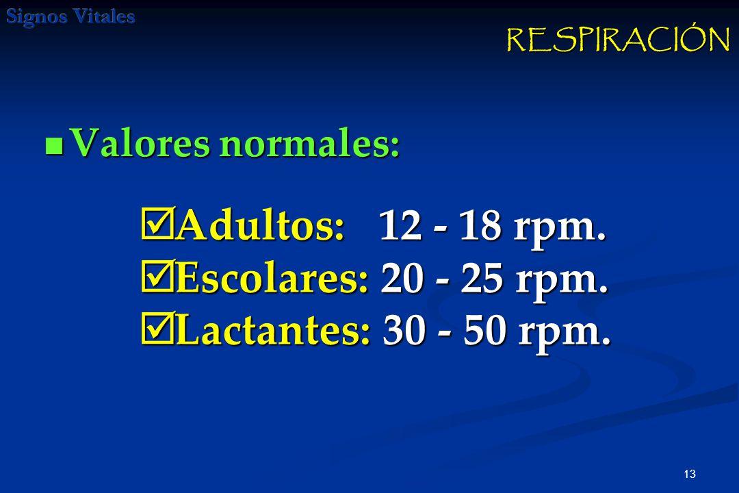 13 Valores normales: Valores normales: Adultos: 12 - 18 rpm. Adultos: 12 - 18 rpm. Escolares: 20 - 25 rpm. Escolares: 20 - 25 rpm. Lactantes: 30 - 50
