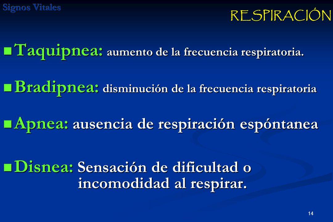14 Taquipnea: aumento de la frecuencia respiratoria. Taquipnea: aumento de la frecuencia respiratoria. Bradipnea: disminución de la frecuencia respira