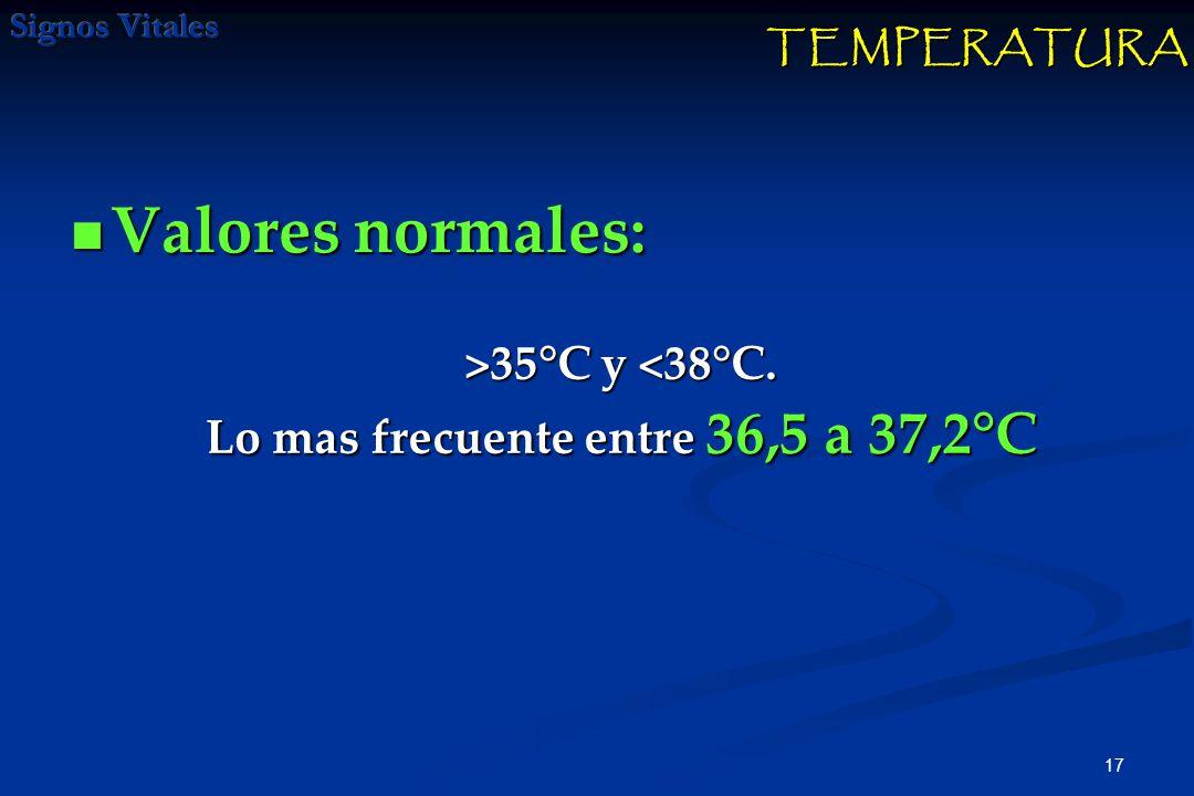 17 Valores normales: Valores normales: TEMPERATURA >35°C y 35°C y <38°C. Lo mas frecuente entre 36,5 a 37,2°C