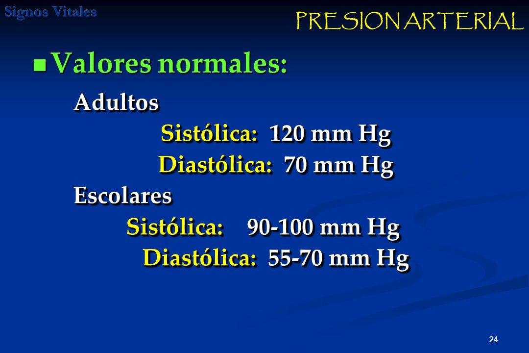 24 Valores normales: Valores normales: Adultos Sistólica: 120 mm Hg Diastólica: 70 mm Hg Escolares Sistólica: 90-100 mm Hg Sistólica: 90-100 mm Hg Diastólica: 55-70 mm Hg Adultos Sistólica: 120 mm Hg Diastólica: 70 mm Hg Escolares Sistólica: 90-100 mm Hg Sistólica: 90-100 mm Hg Diastólica: 55-70 mm Hg PRESION ARTERIAL