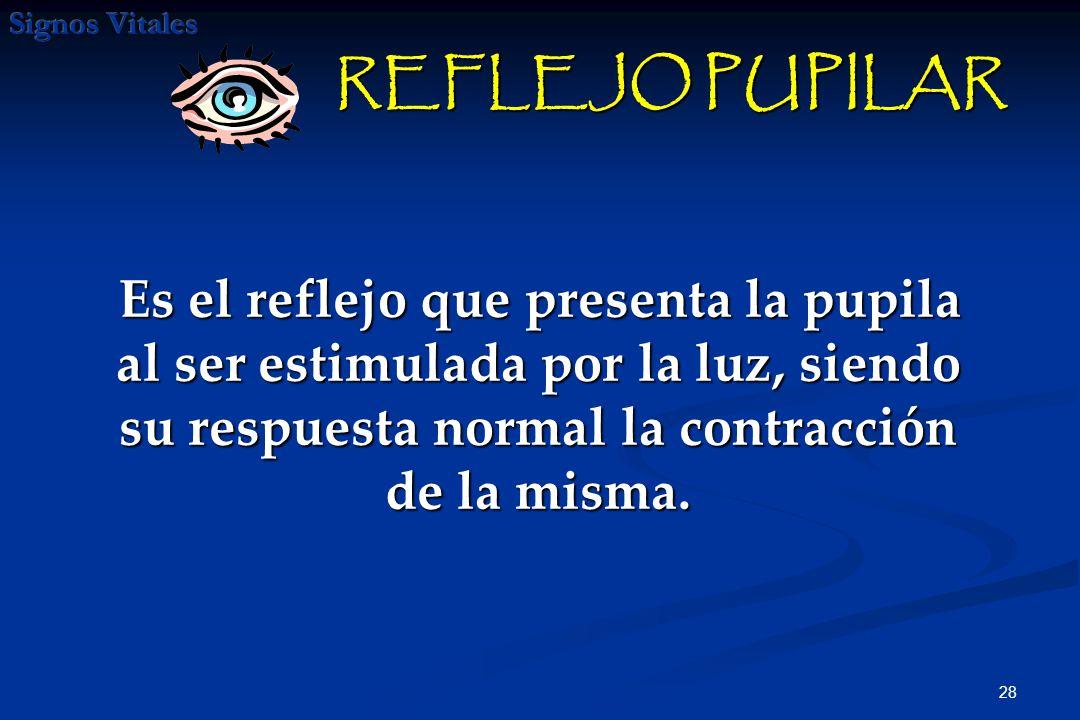 28 REFLEJO PUPILAR REFLEJO PUPILAR Es el reflejo que presenta la pupila al ser estimulada por la luz, siendo su respuesta normal la contracción de la misma.