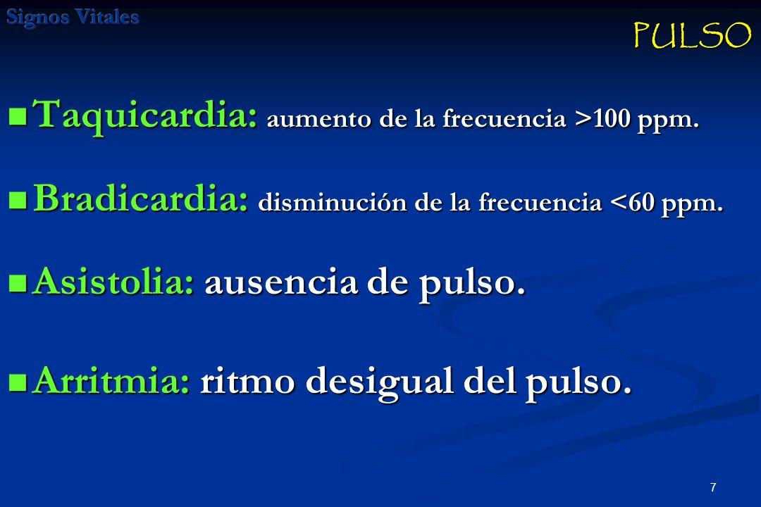 7 Taquicardia: aumento de la frecuencia >100 ppm.Taquicardia: aumento de la frecuencia >100 ppm.