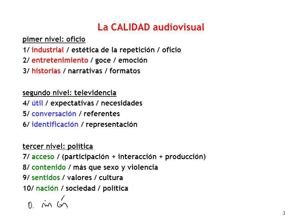 3 La CALIDAD audiovisual pimer nivel: oficio 1/ industrial / estética de la repetición / oficio 2/ entretenimiento / goce / emoción 3/ historias / nar