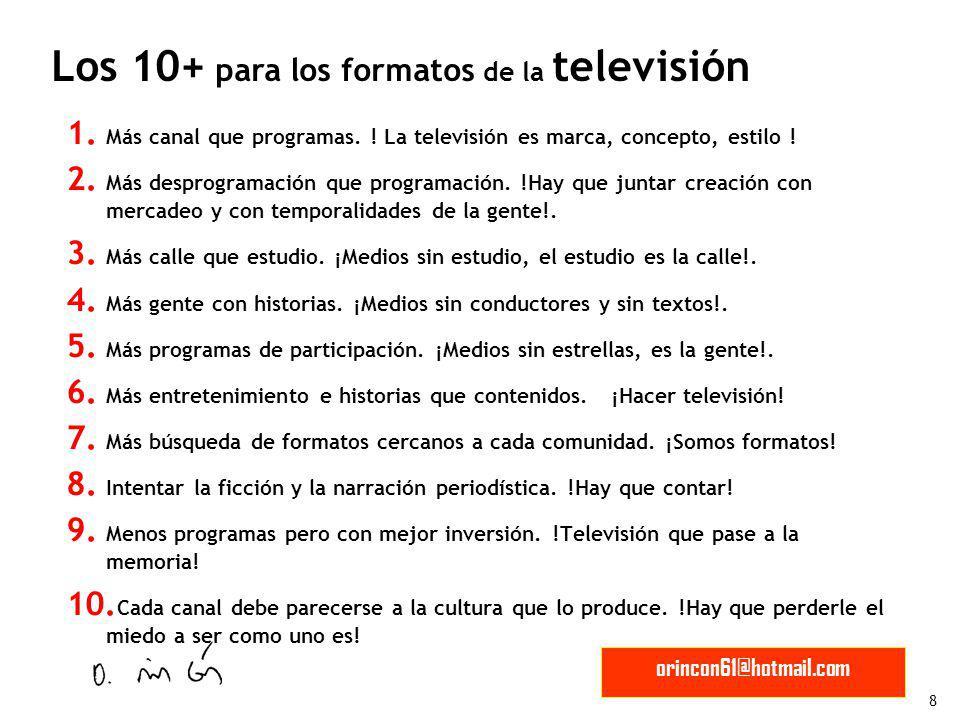 8 orincon61@hotmail.com 1. Más canal que programas. ! La televisión es marca, concepto, estilo ! 2. Más desprogramación que programación. !Hay que jun