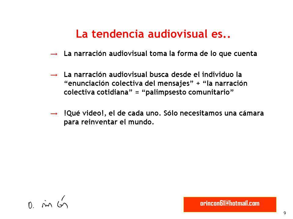 9 orincon61@hotmail.com La narración audiovisual toma la forma de lo que cuenta La narración audiovisual busca desde el individuo la enunciación colec