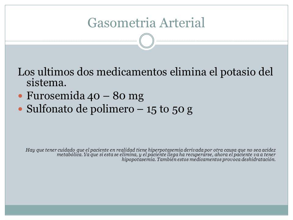 Gasometria Arterial Los ultimos dos medicamentos elimina el potasio del sistema. Furosemida 40 – 80 mg Sulfonato de polimero – 15 to 50 g Hay que tene