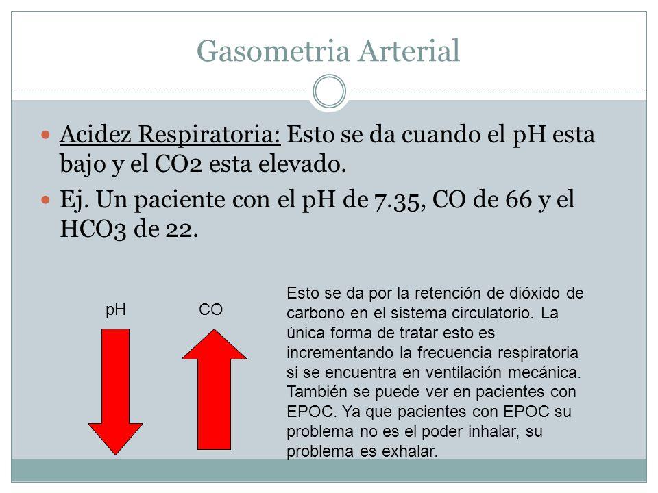 Gasometria Arterial Acidez Respiratoria: Esto se da cuando el pH esta bajo y el CO2 esta elevado. Ej. Un paciente con el pH de 7.35, CO de 66 y el HCO