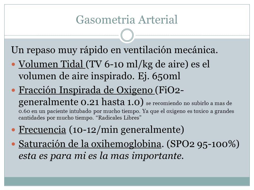 Gasometria Arterial Un repaso muy rápido en ventilación mecánica. Volumen Tidal (TV 6-10 ml/kg de aire) es el volumen de aire inspirado. Ej. 650ml Fra