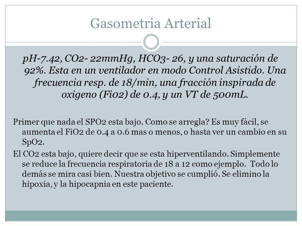 Gasometria Arterial pH-7.42, CO2- 22mmHg, HCO3- 26, y una saturación de 92%. Esta en un ventilador en modo Control Asistido. Una frecuencia resp. de 1