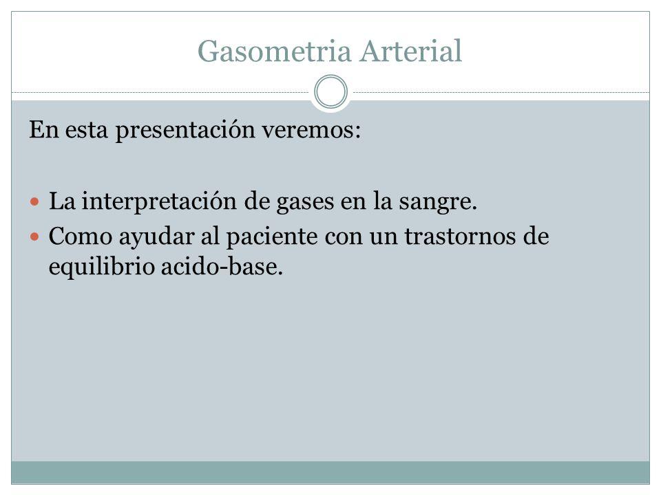 En esta presentación veremos: La interpretación de gases en la sangre. Como ayudar al paciente con un trastornos de equilibrio acido-base.