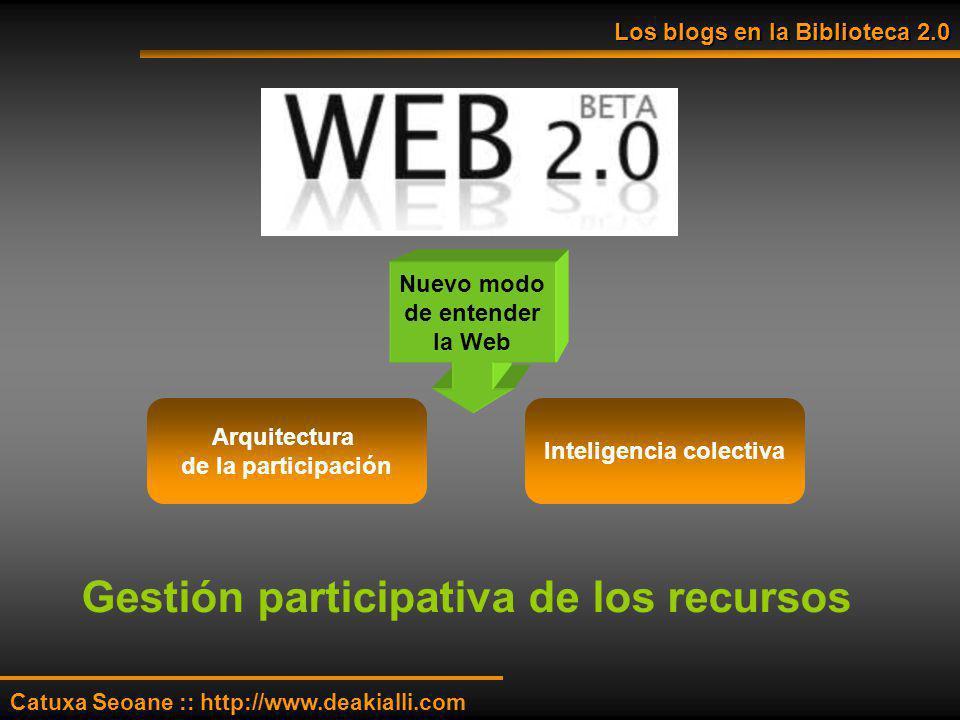 Nuevo modo de entender la Web Arquitectura de la participación Inteligencia colectiva Gestión participativa de los recursos Catuxa Seoane :: http://ww