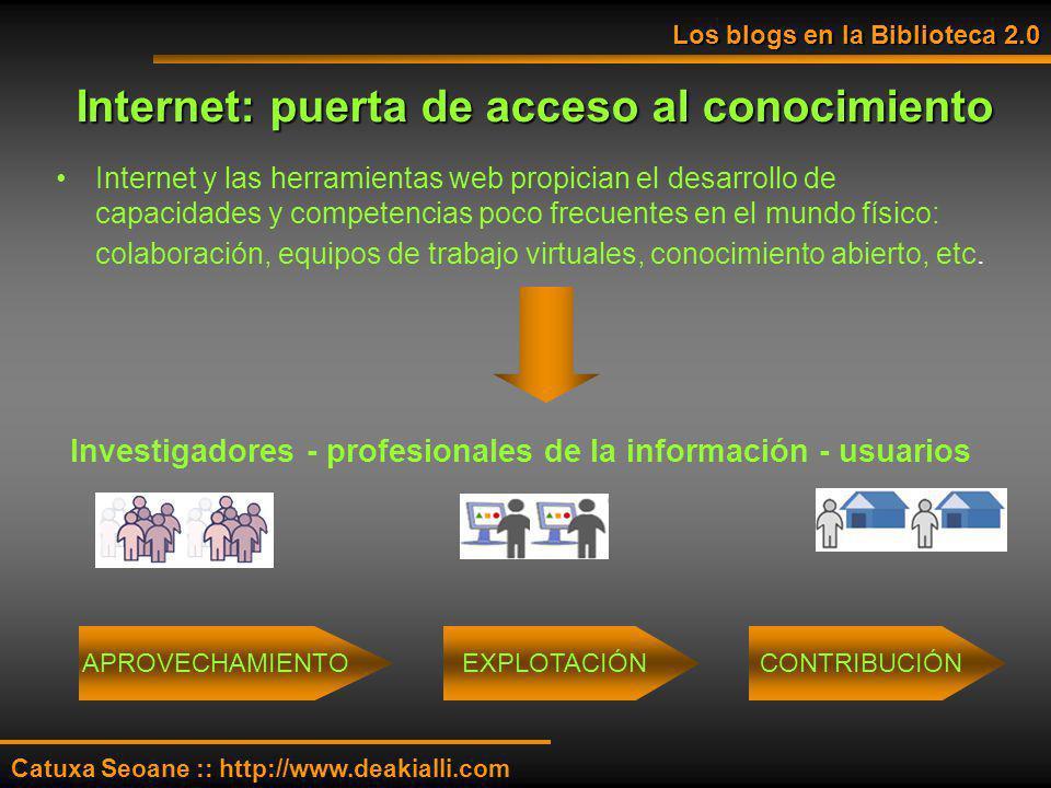 Internet: puerta de acceso al conocimiento Internet y las herramientas web propician el desarrollo de capacidades y competencias poco frecuentes en el