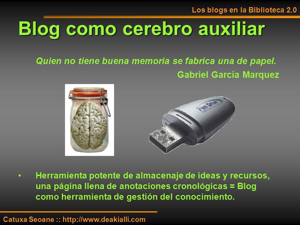 Blog como cerebro auxiliar Quien no tiene buena memoria se fabrica una de papel. Gabriel García Marquez Herramienta potente de almacenaje de ideas y r