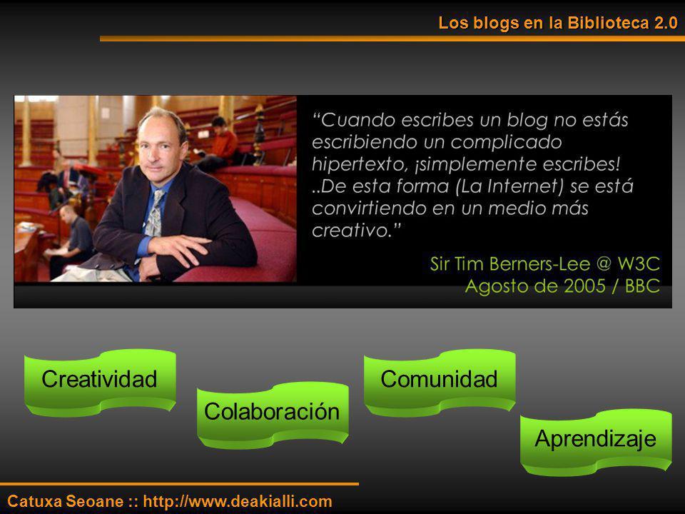 Los blogs en la Biblioteca 2.0 Catuxa Seoane :: http://www.deakialli.com Creatividad Colaboración Comunidad Aprendizaje