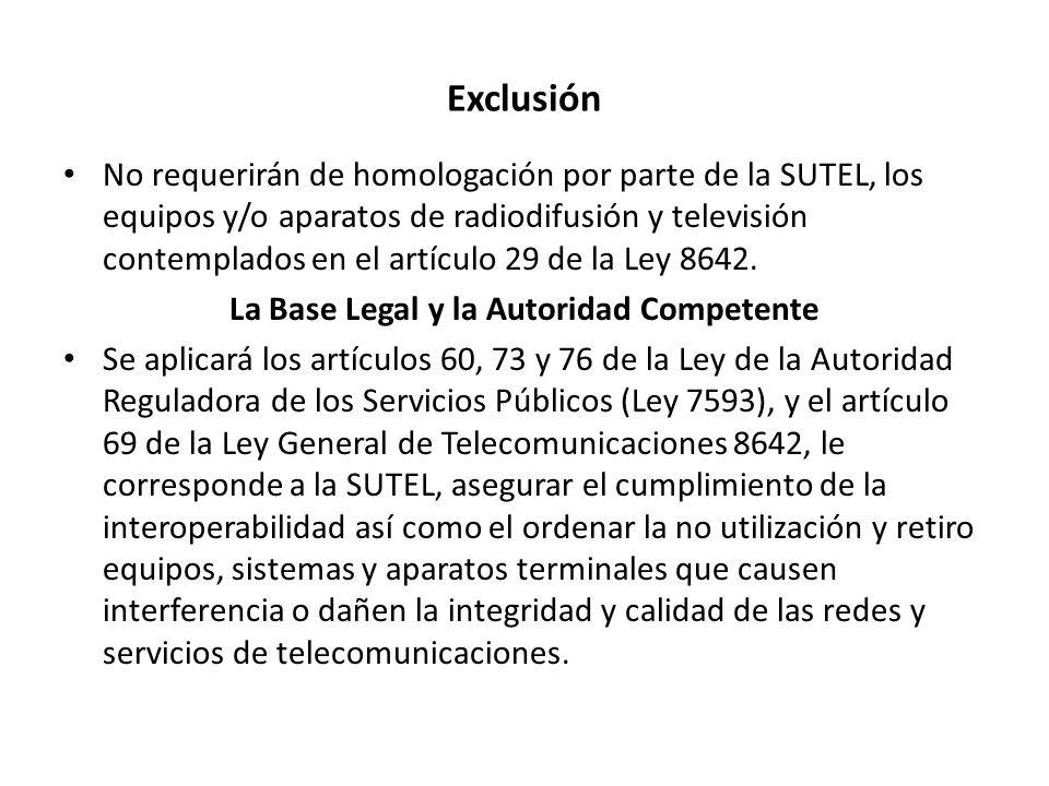 Exclusión No requerirán de homologación por parte de la SUTEL, los equipos y/o aparatos de radiodifusión y televisión contemplados en el artículo 29 d