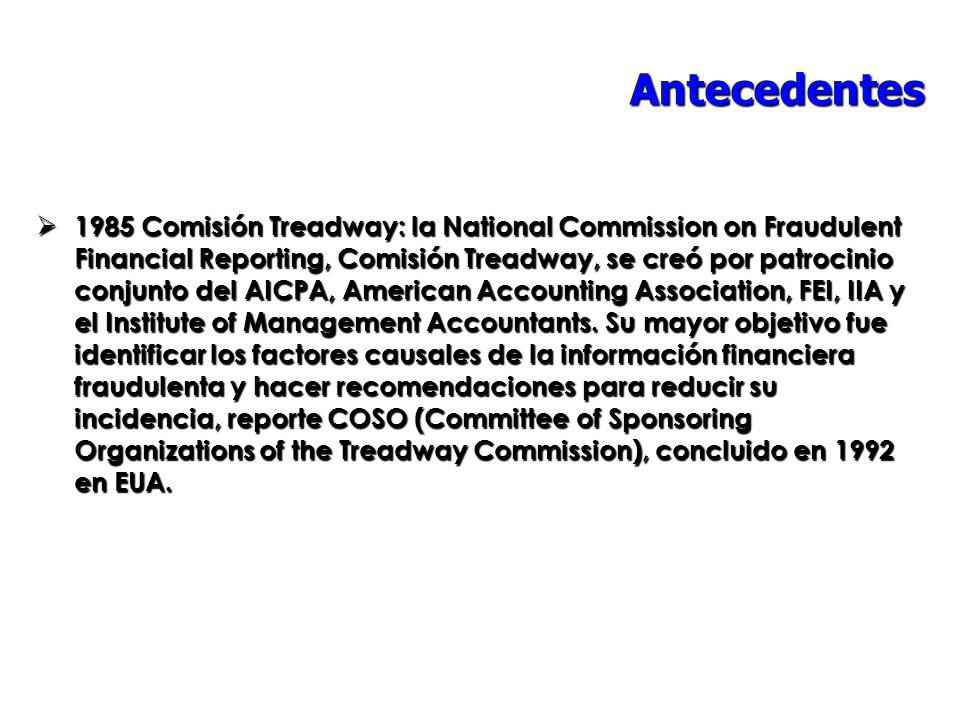 Antecedentes 1985 Comisión Treadway: la National Commission on Fraudulent Financial Reporting, Comisión Treadway, se creó por patrocinio conjunto del