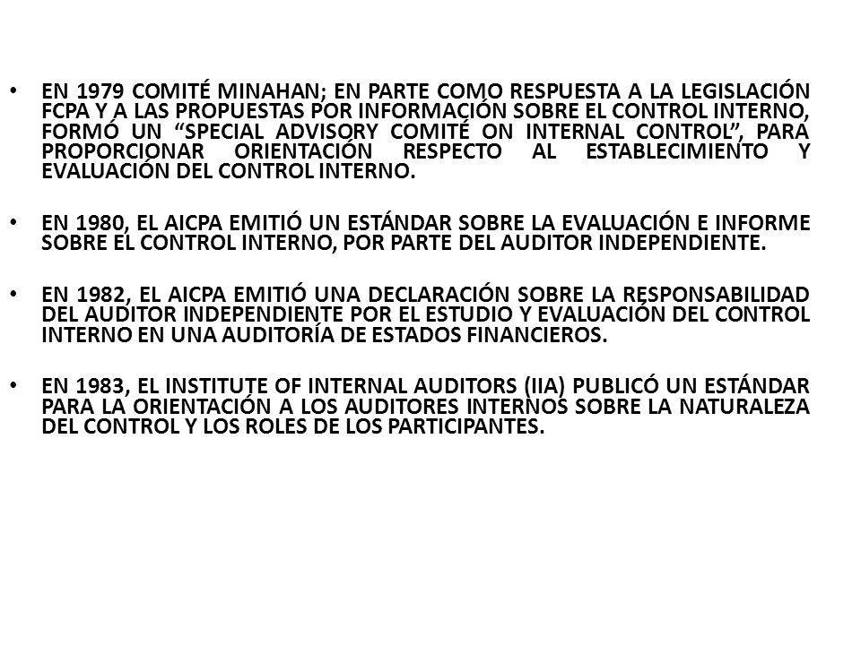 EN 1985 LA COMISIÓN TREADWAY; LA NATIONAL COMMISSION ON FRAUDULENT FINANCIAL REPORTING, CONOCIDA COMO LA COMISIÓN TREADWAY, FUE CREADA POR EL PATROCINIO CONJUNTO DEL AICPA, AMERICAN ACCOUNTING ASSOCIATION, FEI, IIA Y EL INSTITUTE OF MANAGEMENT ACCOUNTANTS.
