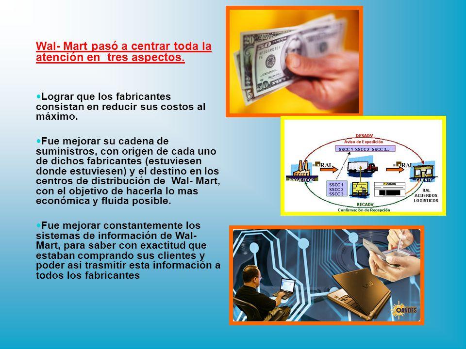 En 1983 Wal-Mart invirtió en terminales de caja que iban pasando la compra del cliente y simultáneamente, descontaban el articulo del inventario para acelerar todo el procedimiento de reposición.