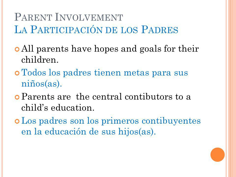 P ARENT I NVOLVEMENT L A P ARTICIPACIÓN DE LOS P ADRES All parents have hopes and goals for their children.