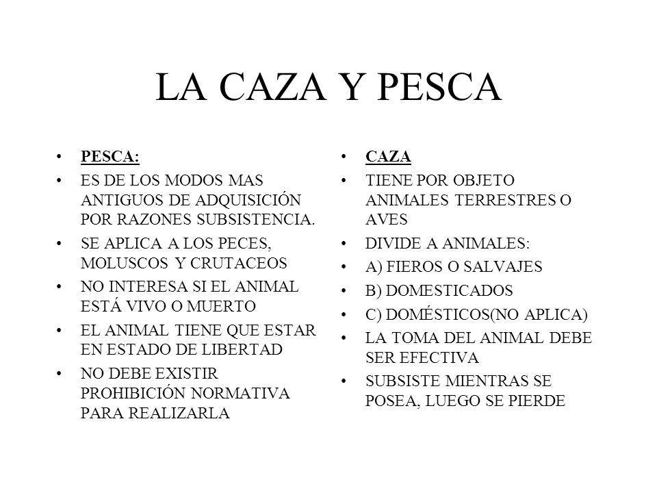 LA CAZA Y PESCA PESCA: ES DE LOS MODOS MAS ANTIGUOS DE ADQUISICIÓN POR RAZONES SUBSISTENCIA. SE APLICA A LOS PECES, MOLUSCOS Y CRUTACEOS NO INTERESA S