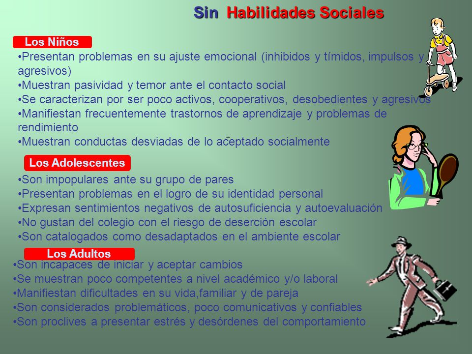 Sin Habilidades Sociales Los Niños Presentan problemas en su ajuste emocional (inhibidos y tímidos, impulsos y agresivos) Muestran pasividad y temor a