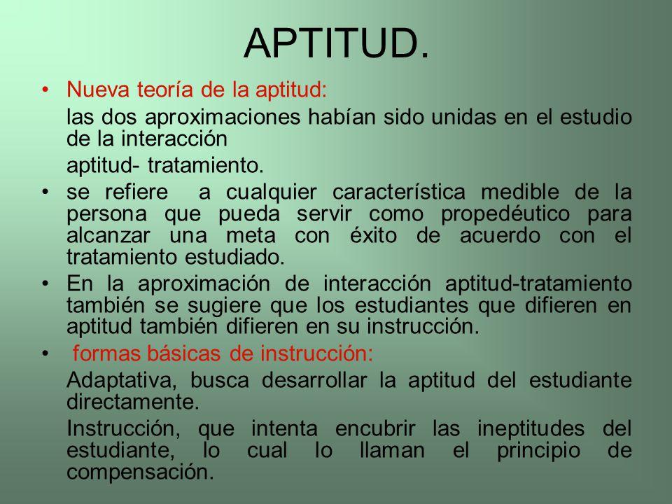 APTITUD. Nueva teoría de la aptitud: las dos aproximaciones habían sido unidas en el estudio de la interacción aptitud- tratamiento. se refiere a cual