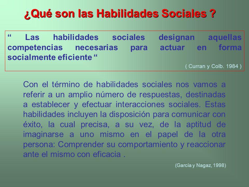 ¿Qué son las Habilidades Sociales ? ¿Qué son las Habilidades Sociales ? Las habilidades sociales designan aquellas competencias necesarias para actuar
