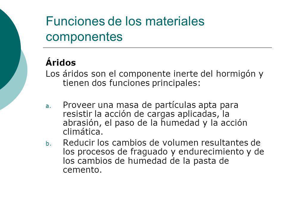 Funciones de los materiales componentes Áridos Los áridos son el componente inerte del hormigón y tienen dos funciones principales: a. Proveer una mas