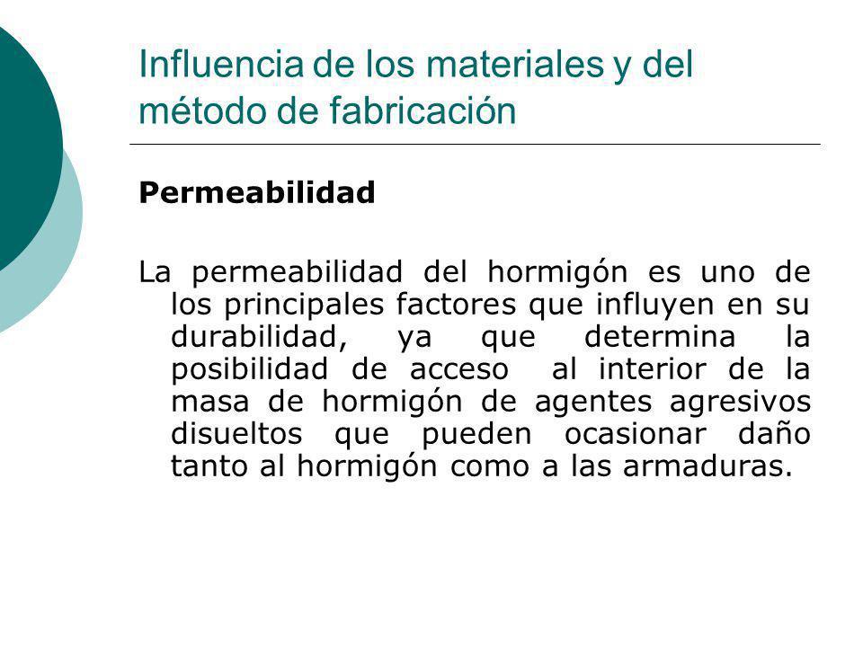 Influencia de los materiales y del método de fabricación Permeabilidad La permeabilidad del hormigón es uno de los principales factores que influyen e