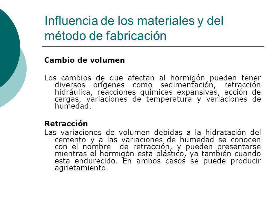 Influencia de los materiales y del método de fabricación Cambio de volumen Los cambios de que afectan al hormigón pueden tener diversos orígenes como