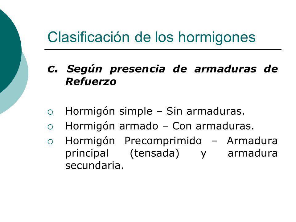 Clasificación de los hormigones c. Según presencia de armaduras de Refuerzo Hormigón simple – Sin armaduras. Hormigón armado – Con armaduras. Hormigón