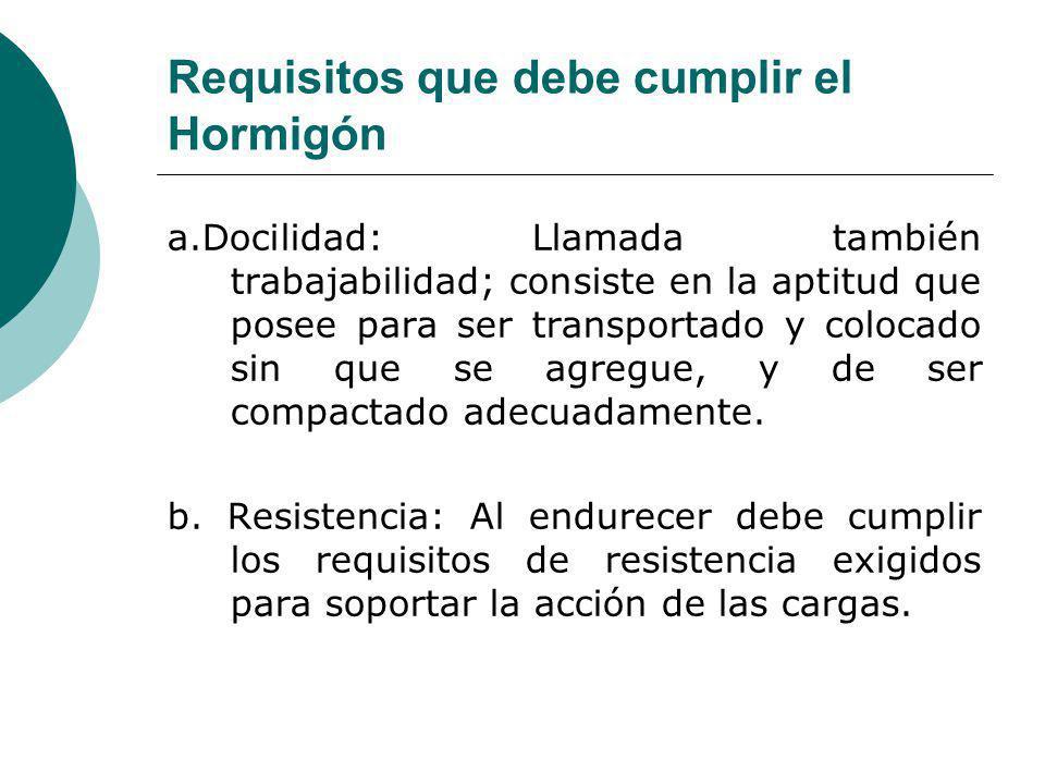 Requisitos que debe cumplir el Hormigón a.Docilidad: Llamada también trabajabilidad; consiste en la aptitud que posee para ser transportado y colocado