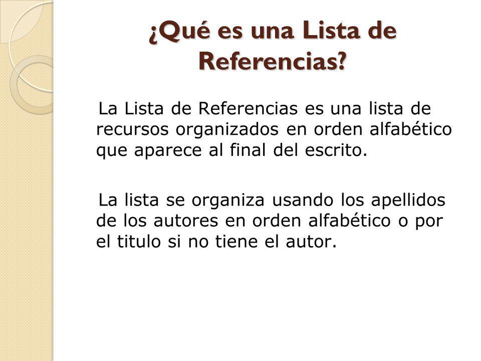¿Qué es una Lista de Referencias?