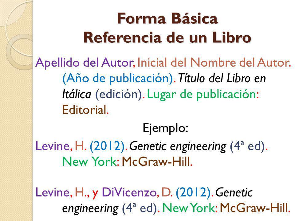 Forma Básica Referencia de un Libro Apellido del Autor, Inicial del Nombre del Autor. (Año de publicación). Título del Libro en Itálica (edición). Lug