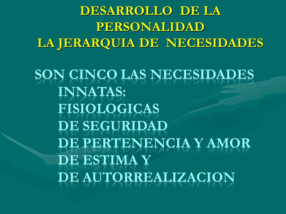 DESARROLLO DE LA PERSONALIDAD LA JERARQUIA DE NECESIDADES