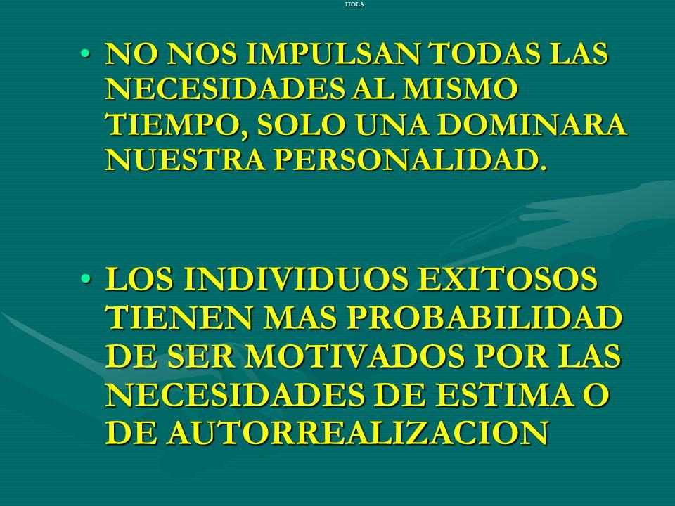 HOLA NO NOS IMPULSAN TODAS LAS NECESIDADES AL MISMO TIEMPO, SOLO UNA DOMINARA NUESTRA PERSONALIDAD.NO NOS IMPULSAN TODAS LAS NECESIDADES AL MISMO TIEM