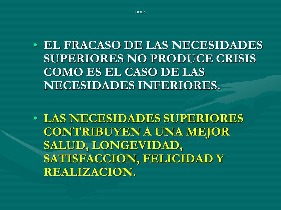 HOLA EL FRACASO DE LAS NECESIDADES SUPERIORES NO PRODUCE CRISIS COMO ES EL CASO DE LAS NECESIDADES INFERIORES.EL FRACASO DE LAS NECESIDADES SUPERIORES NO PRODUCE CRISIS COMO ES EL CASO DE LAS NECESIDADES INFERIORES.