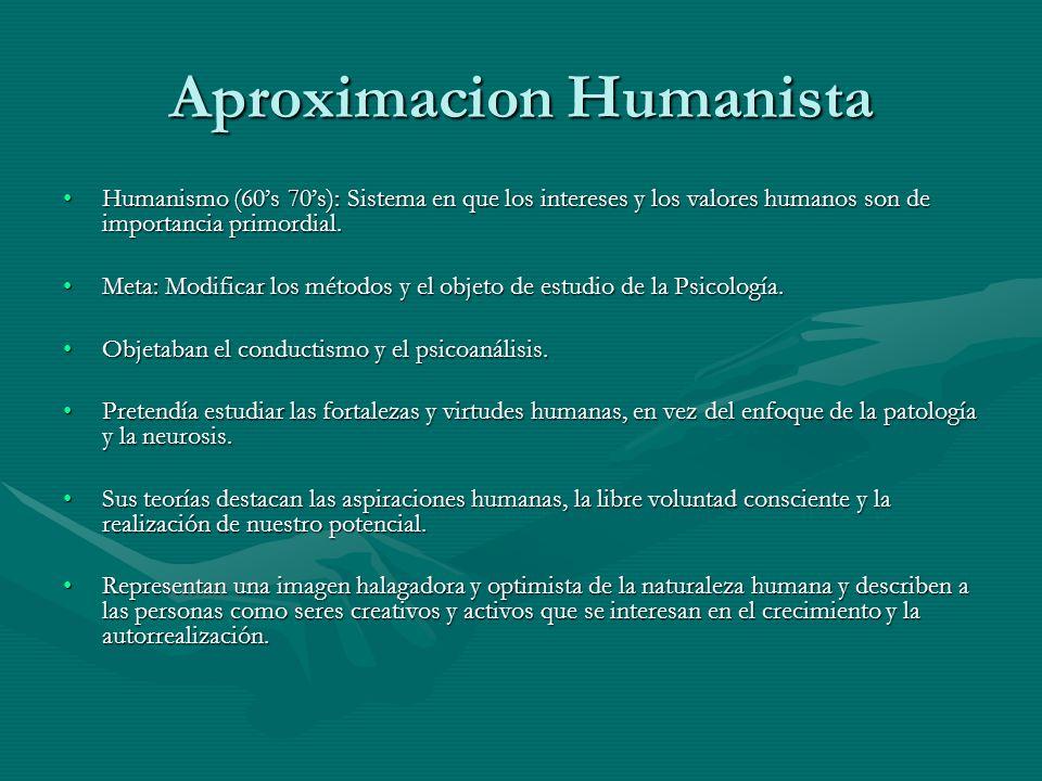 Aproximacion Humanista Humanismo (60s 70s): Sistema en que los intereses y los valores humanos son de importancia primordial.Humanismo (60s 70s): Sistema en que los intereses y los valores humanos son de importancia primordial.