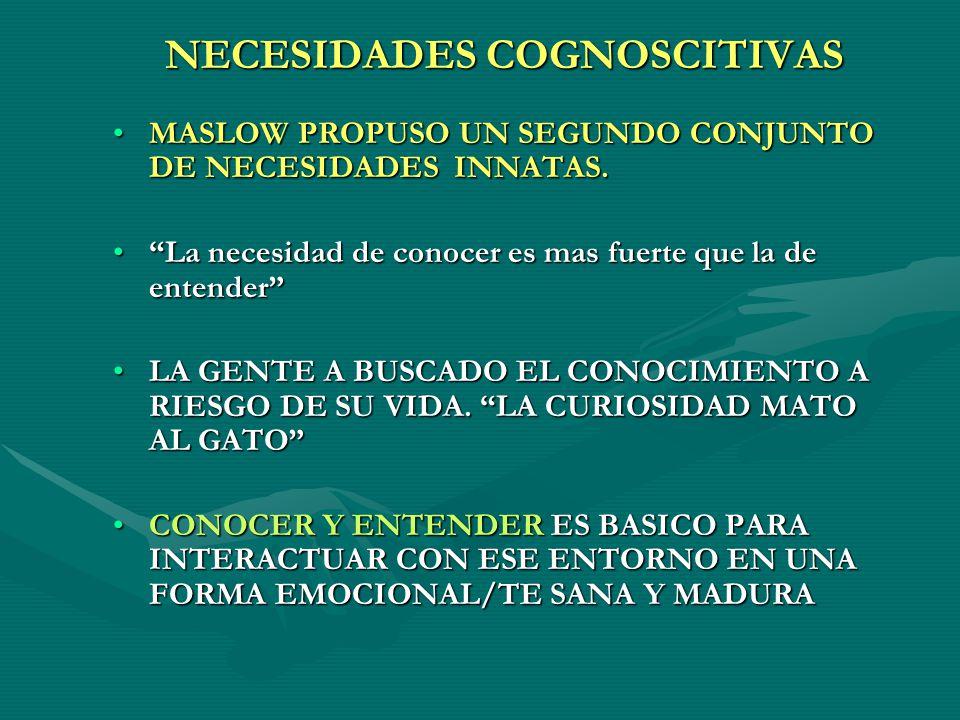 NECESIDADES COGNOSCITIVAS MASLOW PROPUSO UN SEGUNDO CONJUNTO DE NECESIDADES INNATAS.MASLOW PROPUSO UN SEGUNDO CONJUNTO DE NECESIDADES INNATAS.