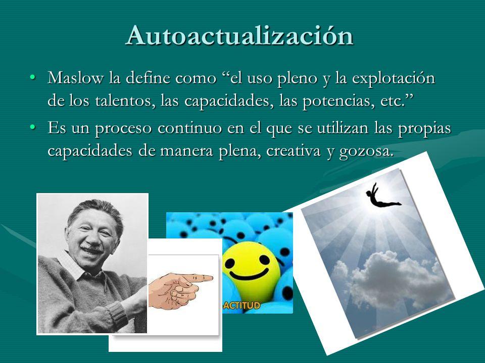 Autoactualización Maslow la define como el uso pleno y la explotación de los talentos, las capacidades, las potencias, etc.Maslow la define como el uso pleno y la explotación de los talentos, las capacidades, las potencias, etc.