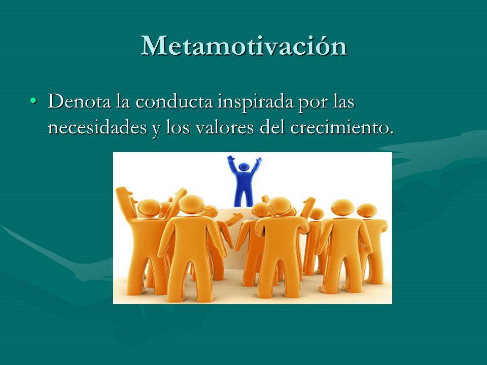 Metamotivación Denota la conducta inspirada por las necesidades y los valores del crecimiento.Denota la conducta inspirada por las necesidades y los valores del crecimiento.