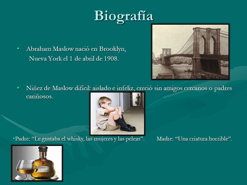 Biografía Abraham Maslow nació en Brooklyn,Abraham Maslow nació en Brooklyn, Nueva York el 1 de abril de 1908. Nueva York el 1 de abril de 1908. Niñez