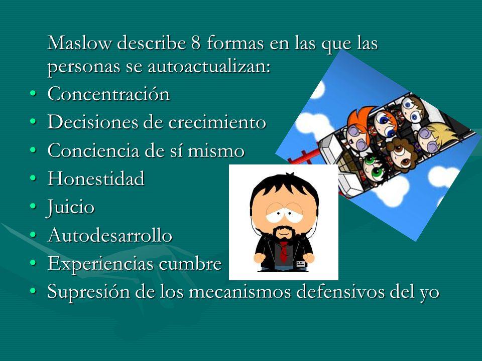 Maslow describe 8 formas en las que las personas se autoactualizan: ConcentraciónConcentración Decisiones de crecimientoDecisiones de crecimiento Conciencia de sí mismoConciencia de sí mismo HonestidadHonestidad JuicioJuicio AutodesarrolloAutodesarrollo Experiencias cumbreExperiencias cumbre Supresión de los mecanismos defensivos del yoSupresión de los mecanismos defensivos del yo